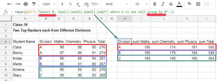 DataOx query formula in Google sheets