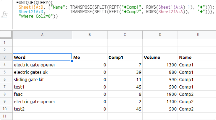 DataOx google sheets query for multiple sheets